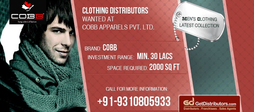Join Hands to Excel- Cobb clothing invites Distributors for Menswear Collection