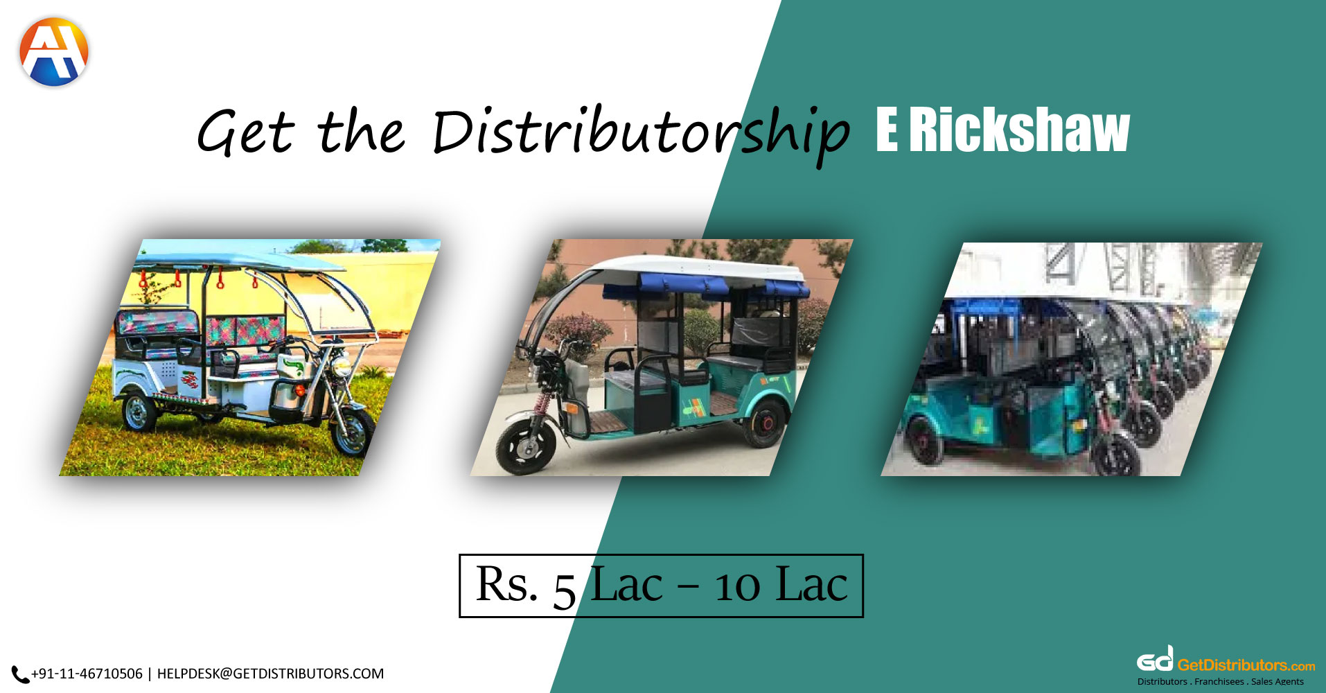 Offering Precisely Engineered E-Rickshaws Distributorship At Affordable Prices