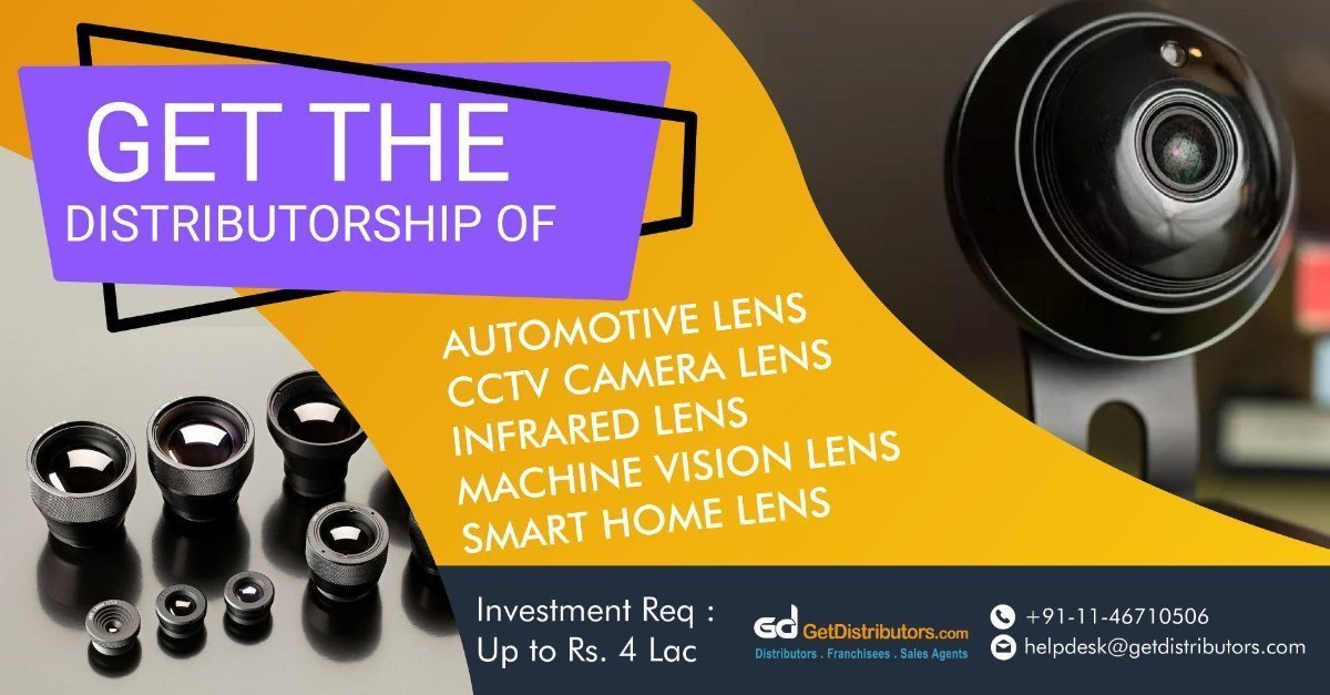 Distributorship Of CCTV Camera Lens, Infrared Lens, Machine Vision Lens And More At Nominal Rates