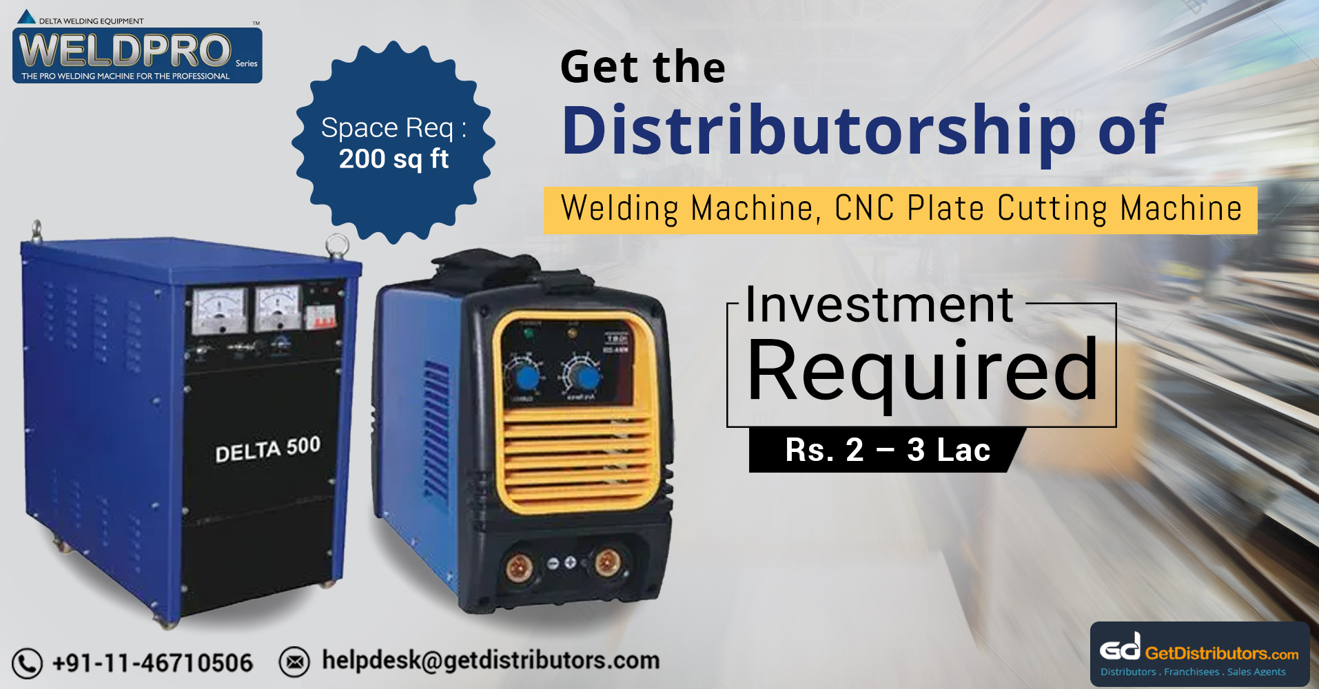 Distributorship Of High Tech Welding Machines And Related Machinery