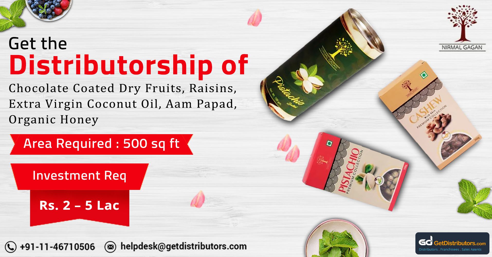 Choose Us For Dry Fruits, Coconut Oil, Organic Honey, And Other Fortified Food Products Distributorship