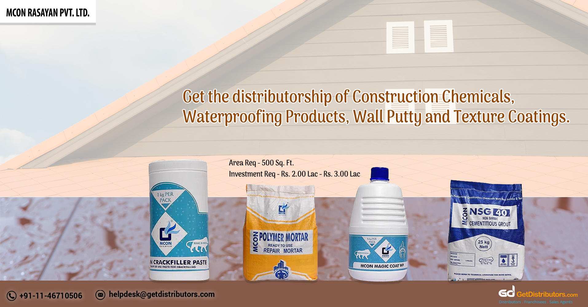 Become A Distributor Of Superior Quality Construction Chemicals