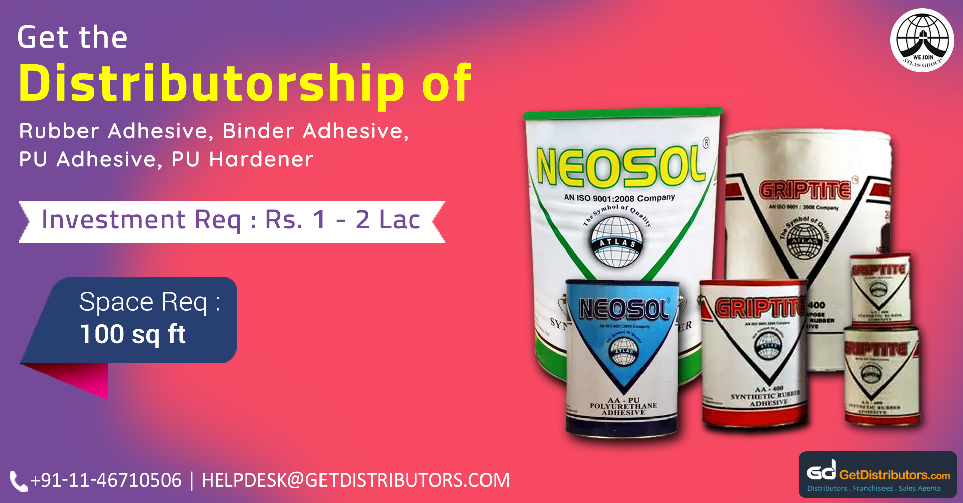 Offering Distributorship Of Supreme Quality Adhesives At Nominal Prices