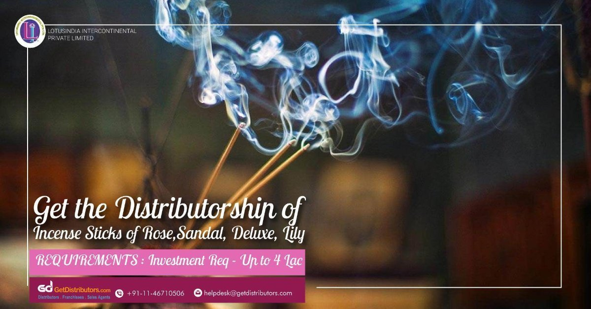 Safe To Use & Decently Aromatic Incense Sticks Distributorship At Cost Effective Prices