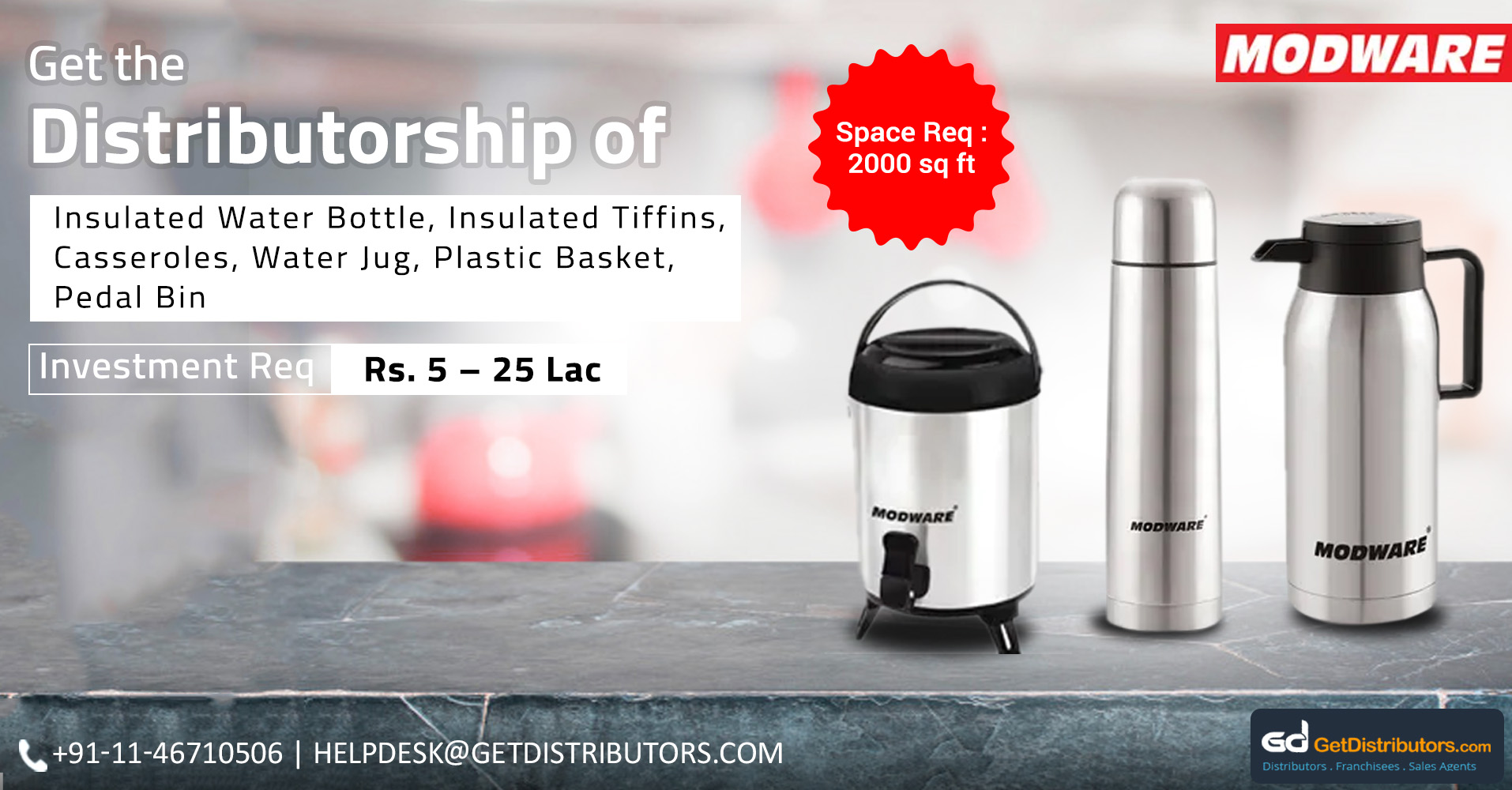 Thermoware, Casseroles & Insulated Bottles Distributorship At A Nominal Cost