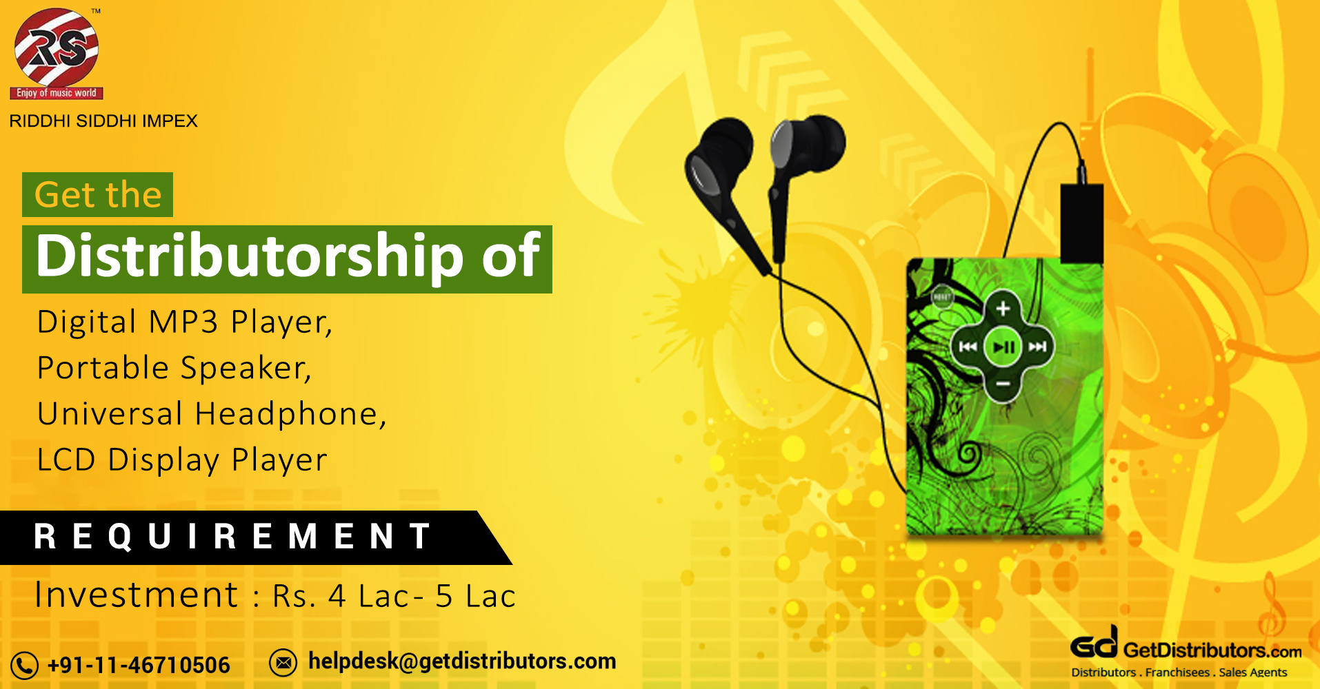High Quality Portable Speaker, Headphone & MP3 Player Distributorship At Affordable Prices