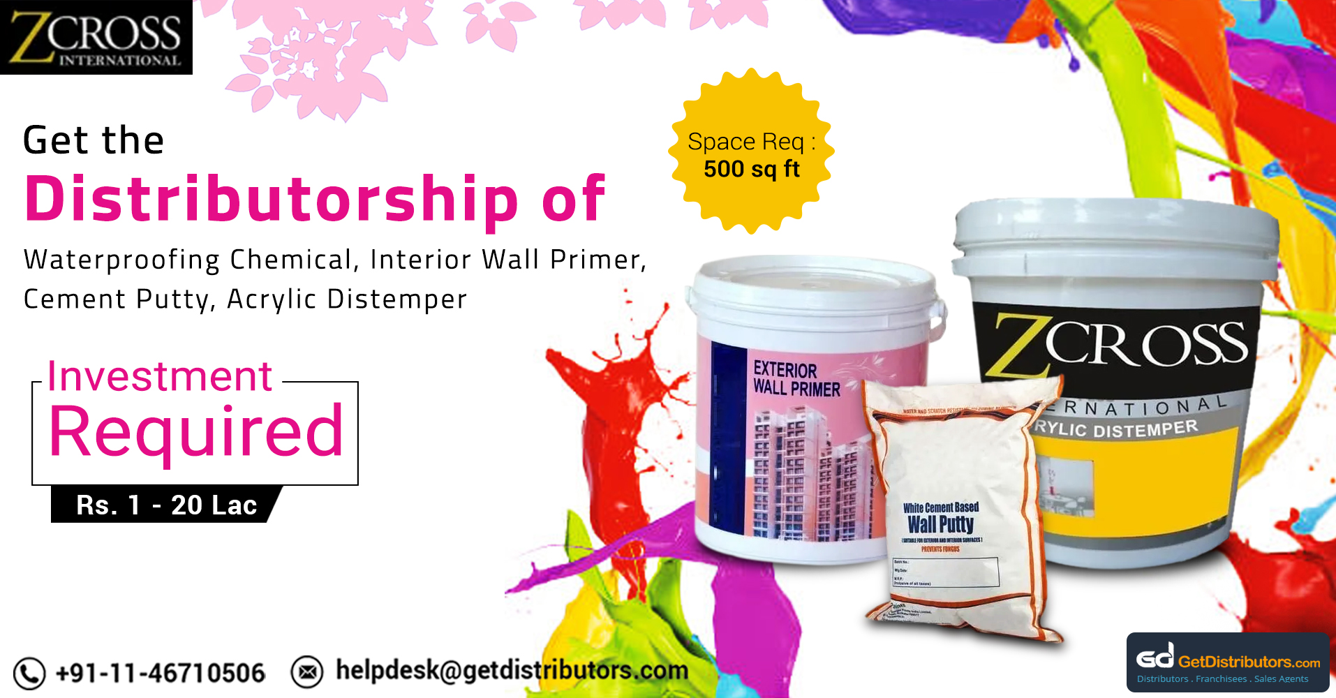 Get Distributorship Of Wall Primer, Waterproofing Chemicals And Allied Products At Pocket Friendly Prices