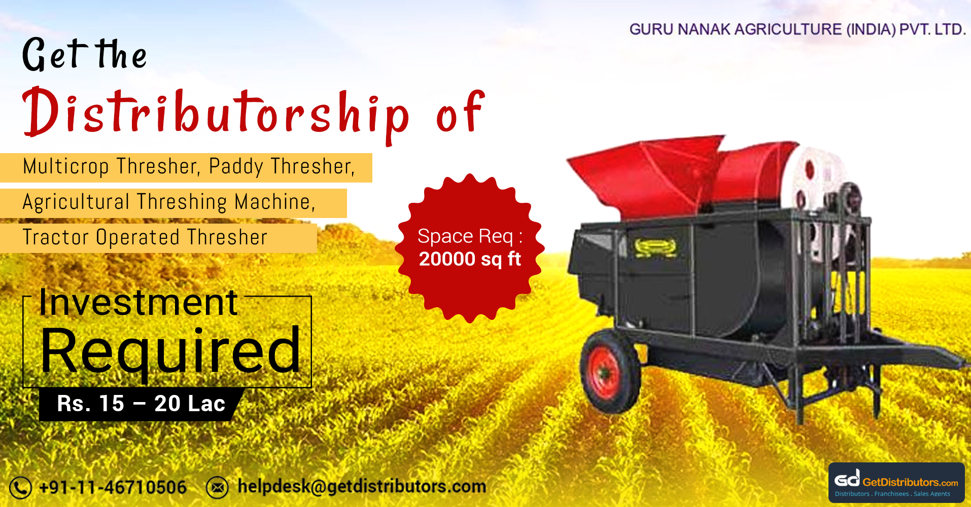 Durable & Non-Corrosive Agricultural Thresher At Attractive Costs