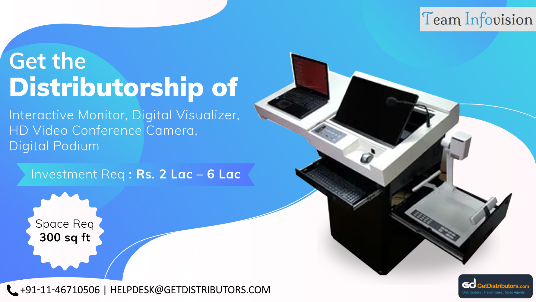 Offering A Vivid Variety Of Digital Podium, Cameras, And Interactive Monitors At Affordable Rates