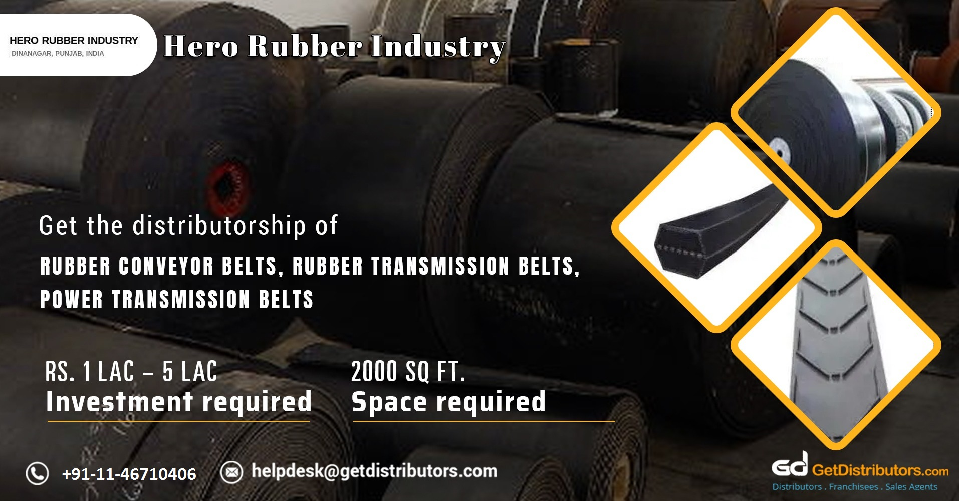 Distributorship of a wide range of conveyor belts