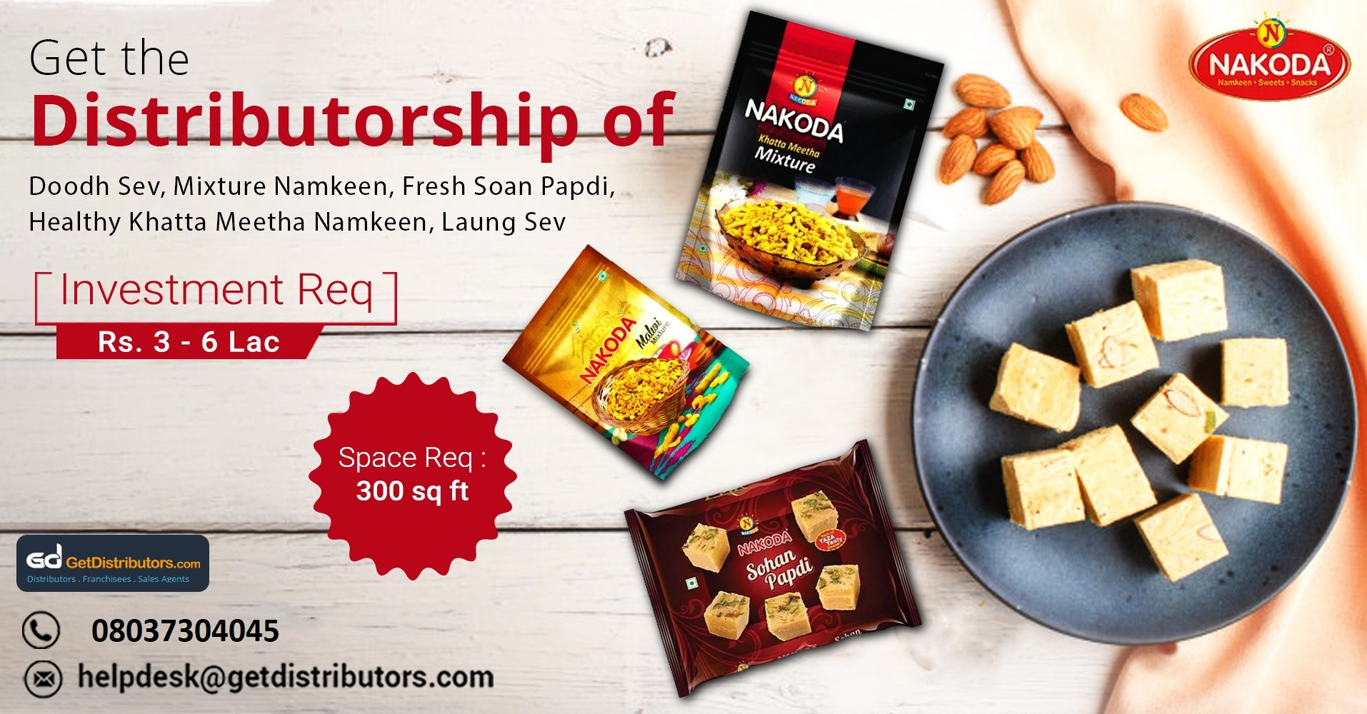 Take up the distributorship of our mouthwatering range of Indian snacks and sweets