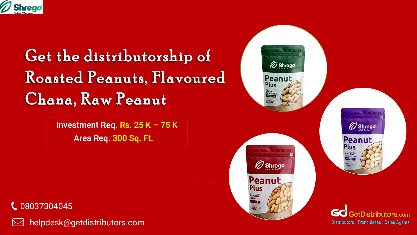 Range of peanuts for distribution