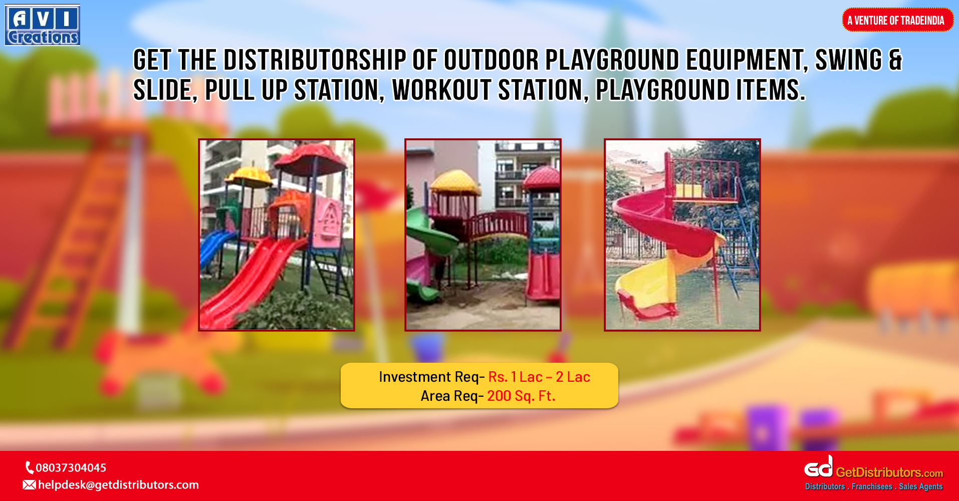 A huge array of playground equipment and other products for children