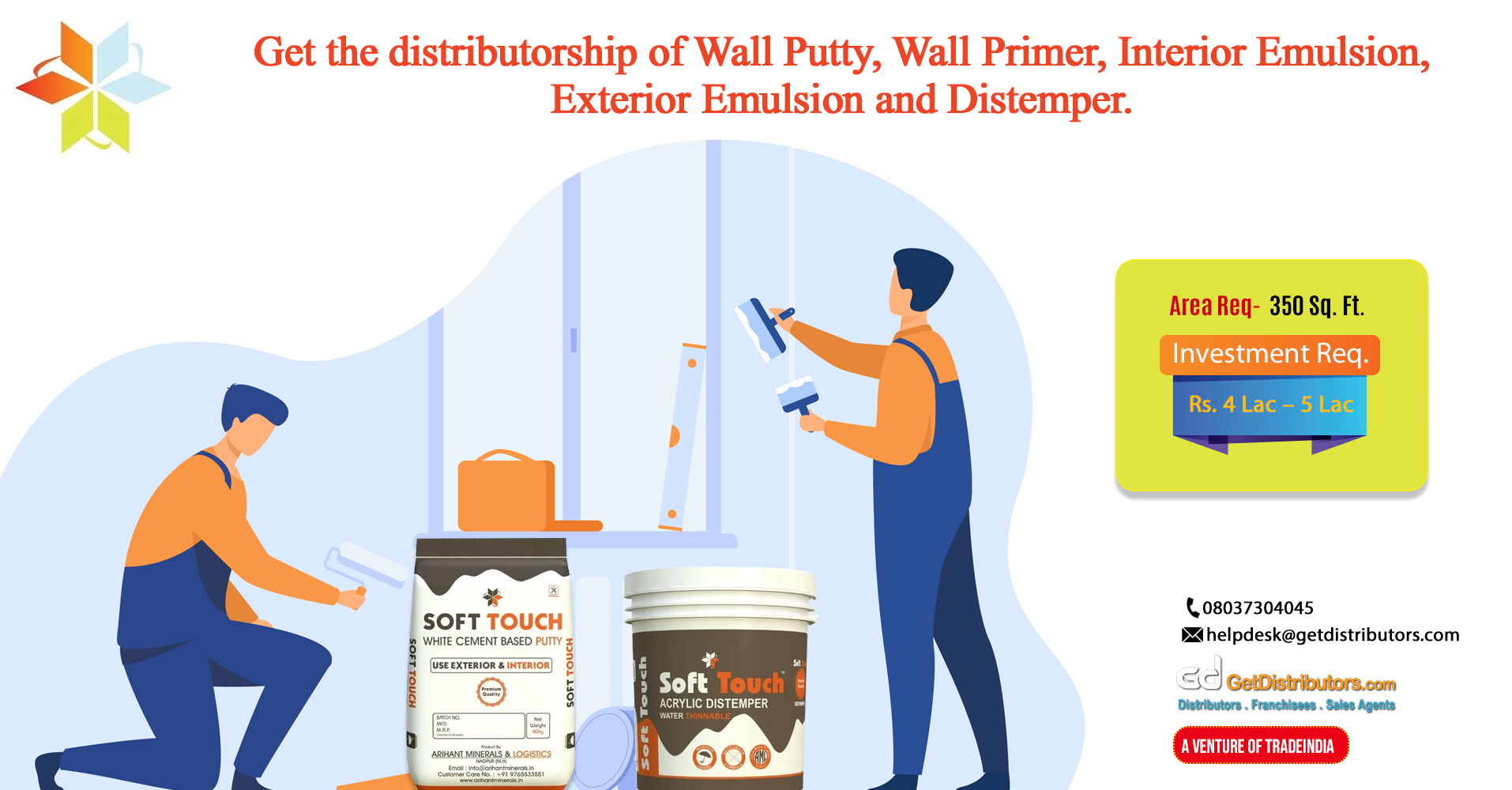 High-class wall putty, wall primer, emulsion, other products for distribution