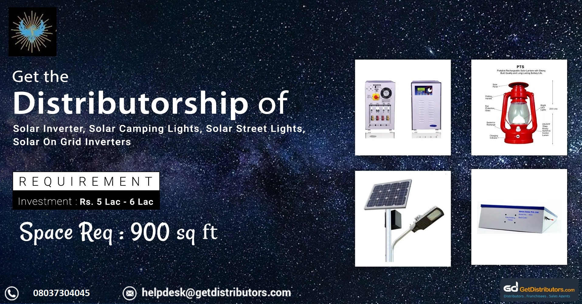 Wide range of solar products and equipment for distribution