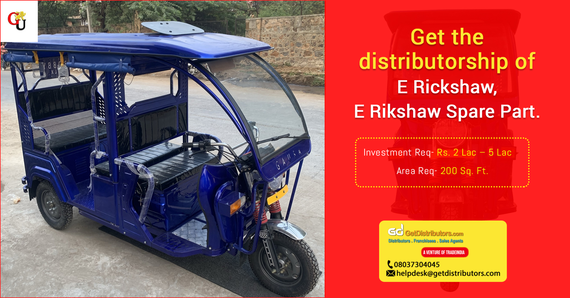 Reliable & cost effective E-Rickshaws for distribution