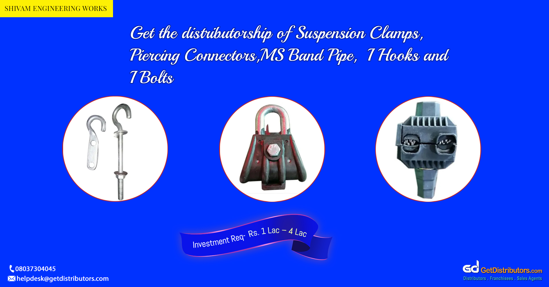 Distributorship of clamps, clips, bolts, and other items