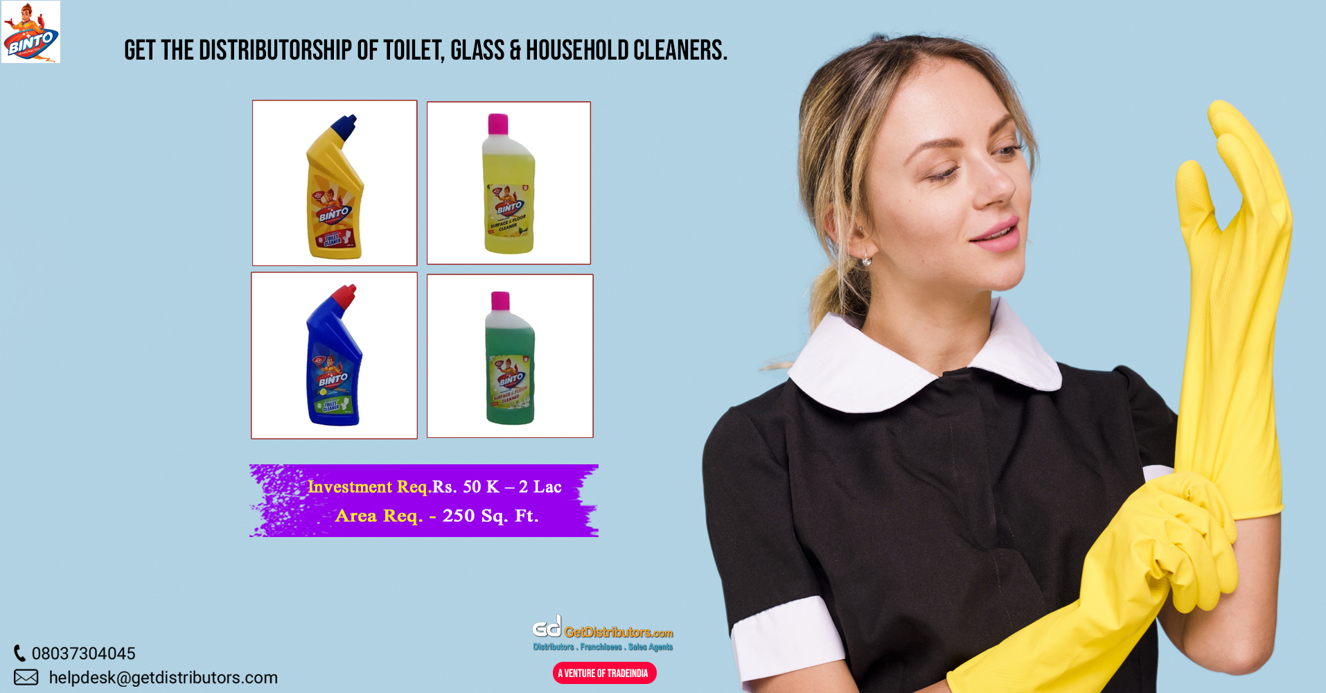 Glass & Household Cleaner, Disinfectant Toilet Cleaner, and a lot more for distribution