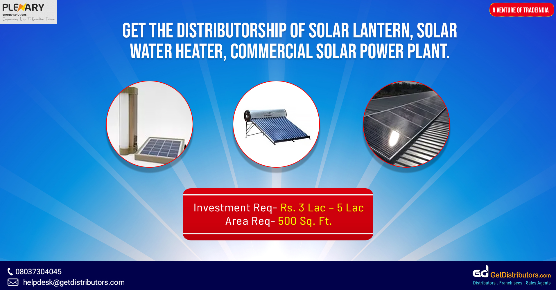 An extensive array of solar products for distribution