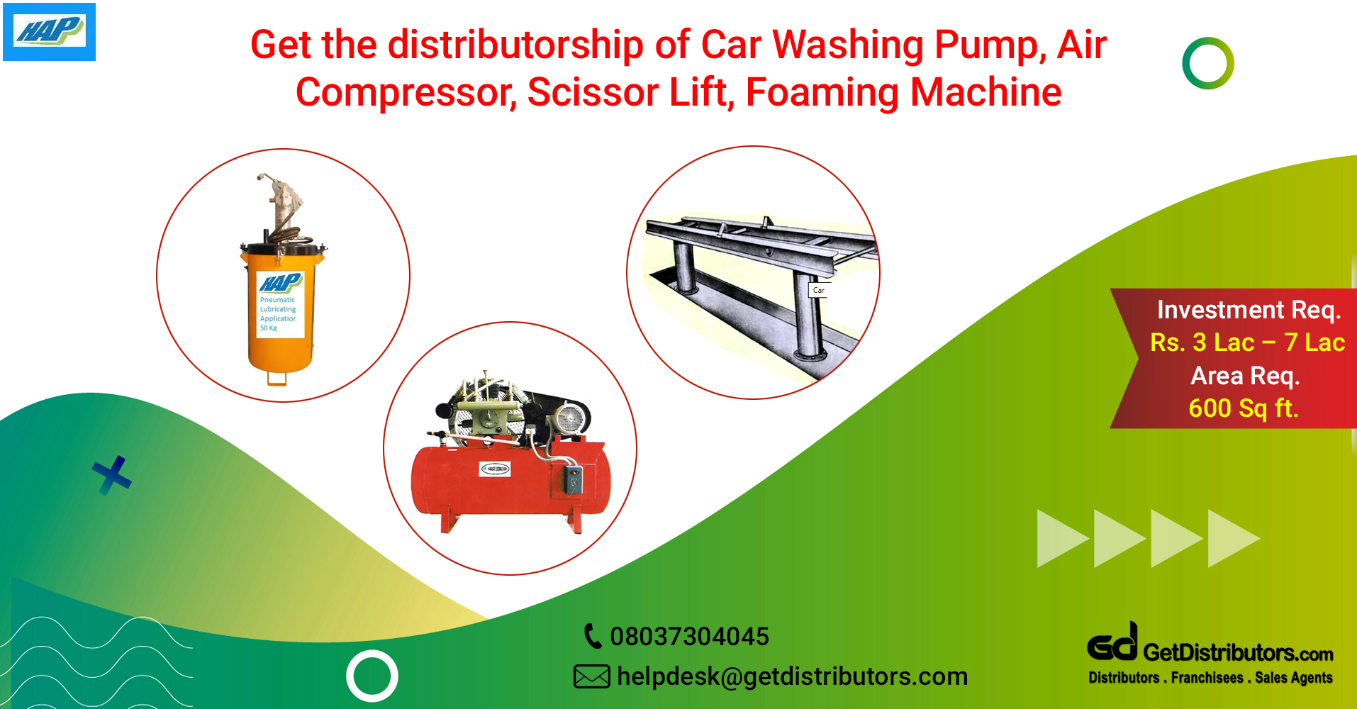 A wide range of machinery for vehicle's maintenance